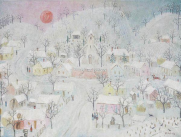 Istvan Pekary (Hungarian 1905-1981) Village Snow
