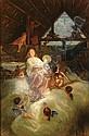 """FRITZ WICHGRAF (German b. 1853) """"Adoration of the Angels"""" Oil on canvas. Signed """"F. Wichgraf/B. (erlin) (19)20"""" 46.2""""x30.8"""" (117.3cm x 78.3cm)"""