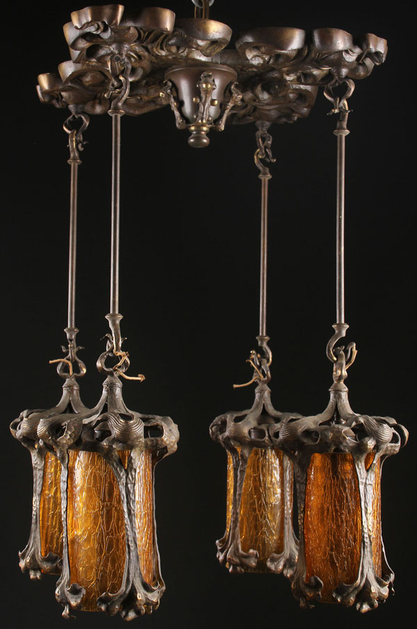 an art nouveau bronze and amber glass chandelier. Black Bedroom Furniture Sets. Home Design Ideas