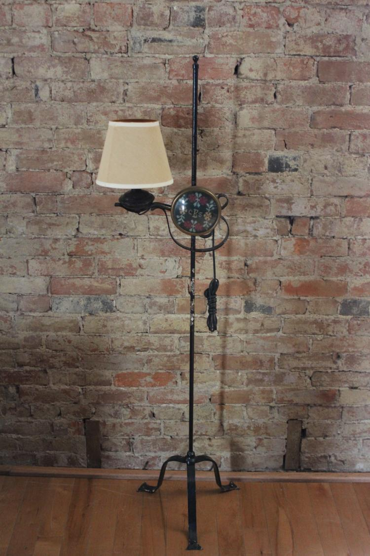 Sold Price Vintage Black Wrought Iron Candlestick Floor Lamp April 6 0117 10 00 Am Edt