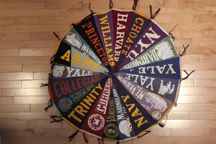 Cicular attached pennants of Ivy League Schools &