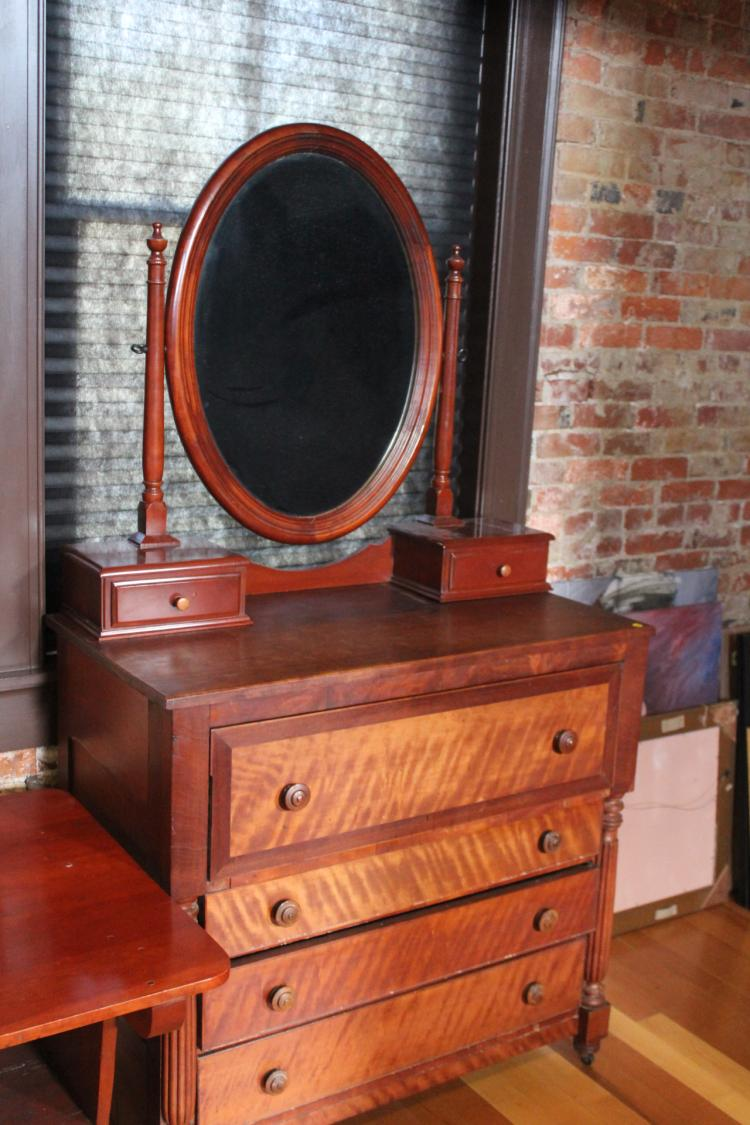 Antique Cherry 4 Drawer Dresser With Oval Mirror