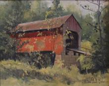 Francis Clark Brown: Red Covered Indiana Bridge