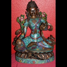 Bronze Cloisonne Buddha Kwan Yin, Guan Yin, Sculpture, Statue - 21