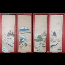 4 Vintage Handpainted Asian Scrolls