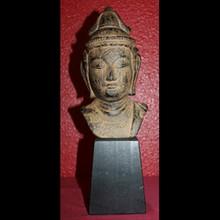 Cast Iron Guan Yin / Kwan-Yin BUDDHA HEAD on wood block-VINTAGE