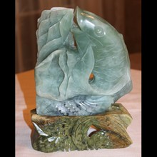 Large Carved JADE Fish / Koi with LOTUS on JADE STAND 10 1/2