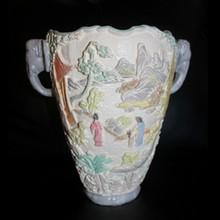 Painted Ceramic Vase Chinese Elephant Handles
