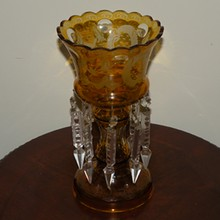 Antique Bohemian Amber Cut to Clear Glass Lustre Candle Holder