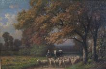 WINTZ Guillaume Wilhelm, 1823-1899 [F]. Scène pastorale, huile sur carton