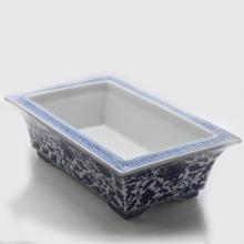 Marked Blue & White Porcelain Flower Pot
