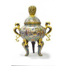 Marked Chinese Cloisonne Enamel Copper Chi Dragon Censer