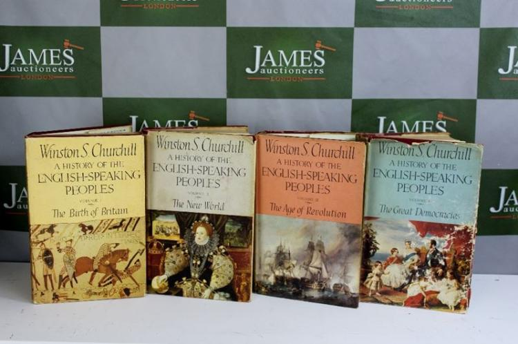 Collection of first edition hardback Winston Churchill-English speaking peoples 1-4 volumes