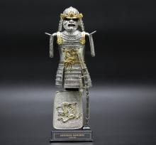 Franklin mint-Japanese Warrior,gilt pewter/plated gold & silver,9 inches in height