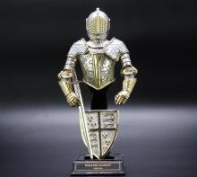 Franklin mint-English Knight,gilt pewter/plated gold & silver,9 inches in height
