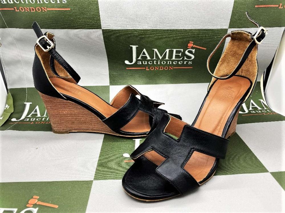 """Hermes Paris Classic """"H"""" Leather Mules Size 37"""
