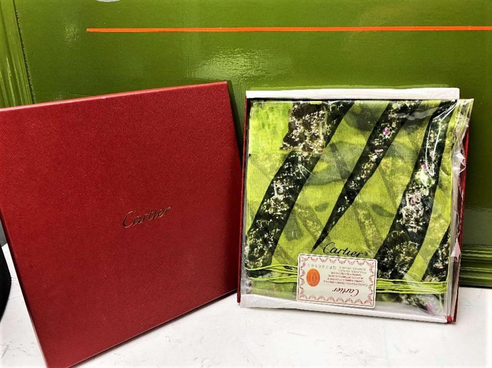 Cartier Paris-Must de Cartier Silk Scarf Monogram Green-New Example