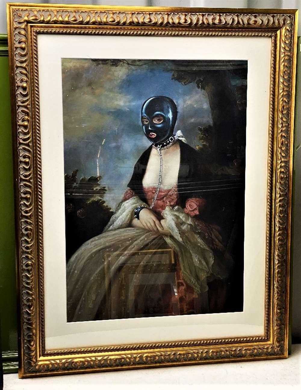 "Banksy ""BDSM"" Print , Ornate Framed"