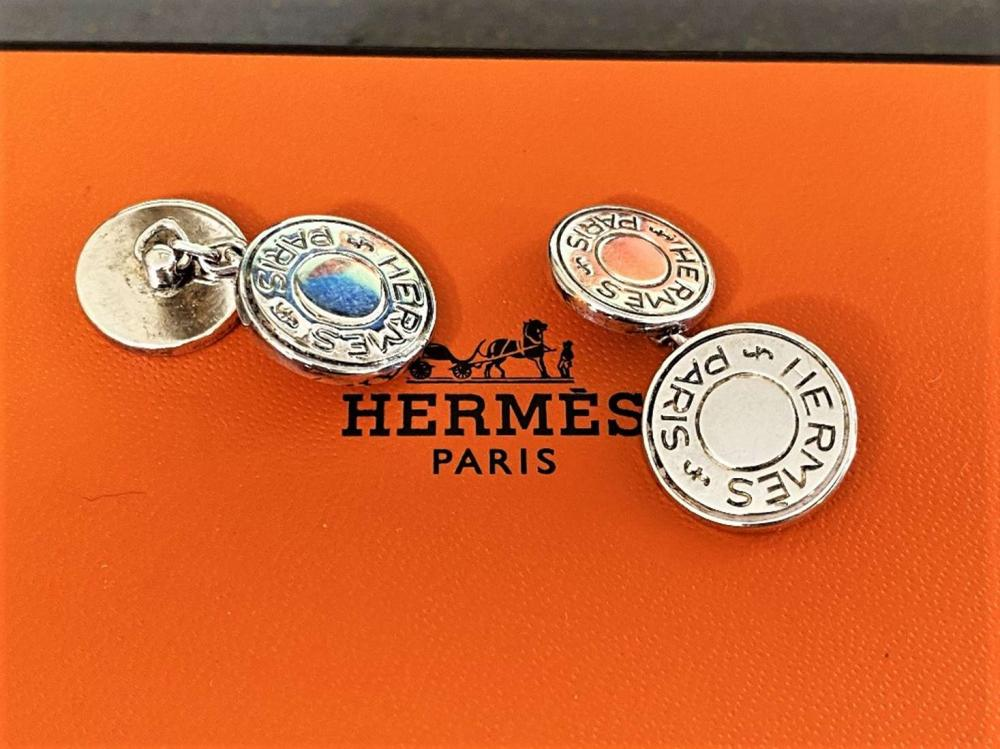 Hermes Paris Vintage Cufflinks Hallmarked 925 Solid Silver Logo Edition