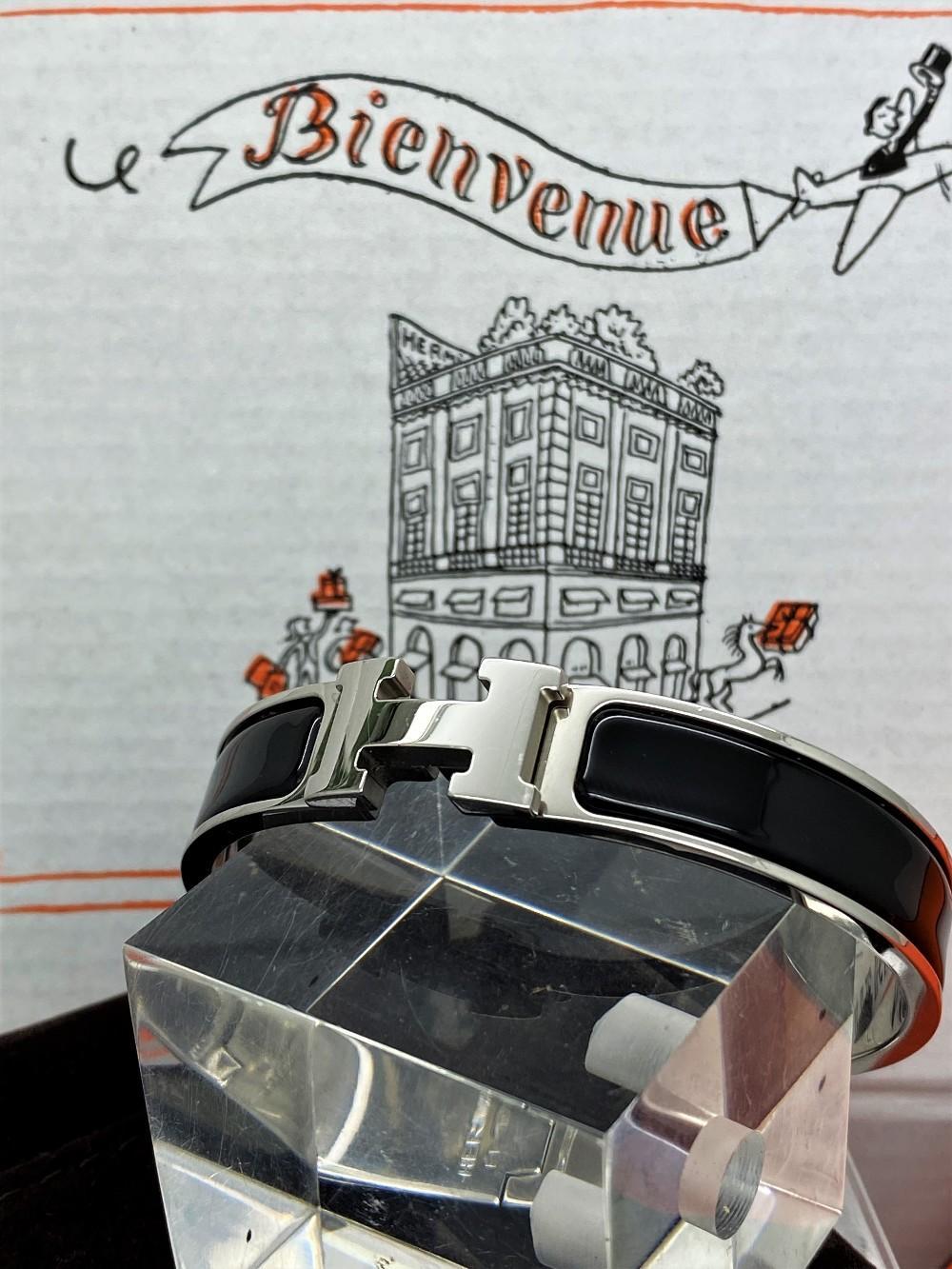 """Hermes Paris Classic """"H"""" Click Clac Bracelet"""