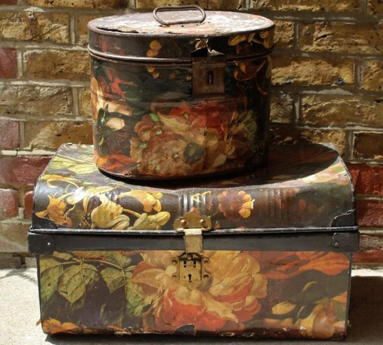 Collection of antique storage containers for Decor 718 container