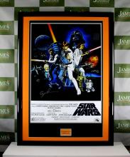 A Star Wars promotional cinema poster signed by director George Lucas