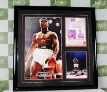 A large Muhammed Ali vs Sonny liston heavy weight championship signed montage