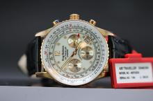 A gent's new Krug Baumen Air Traveller edition,  rose gold plated with eight diamonds RRP £499