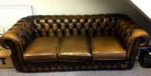 A genuine Thomas Lloyd Chesterfield three cushion leather, 82 x 33 inch