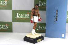 12 inch highly collectable Muhammed Ali cast on plinth, ltd edition and certificated