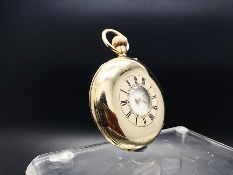 A 18ct gold plated full hunter pocket watch