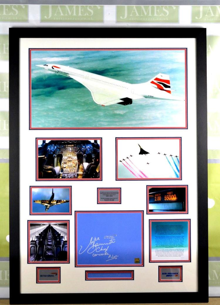 Smythson of London Montage of the concorde with signatures of head pilot Guy Bannister,RRP at Harrods £699.99