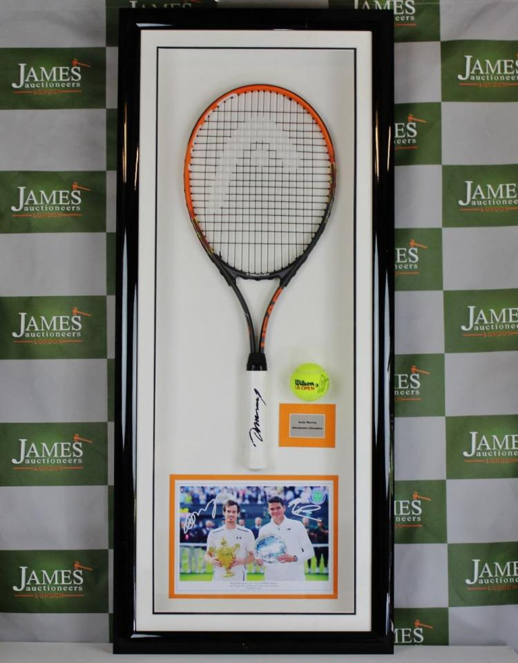 Andy Murray Wimbledon & 2 time Olympic champion signed full size Head racket & Tennis Ball/picture montage.