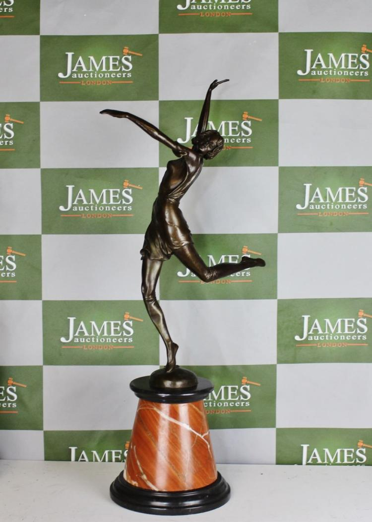Art Deco bronze figure of a dancer, signed B. Zach, A. 7255, raised on circular marble base, h.63cm, RRP £899