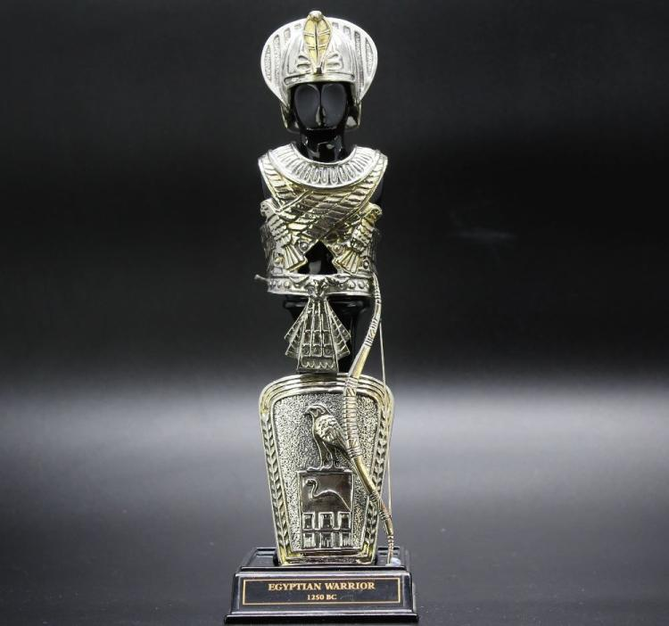 Franklin Mint-Egyptian Warrior,gilt pewter/plated gold & silver,9 inches in height