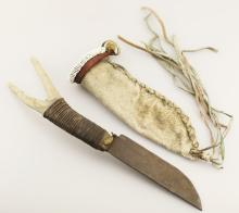 RARE INDIAN KNIFE WITH ANTLER HANDLE AND  SCABBARD - OVERALL LENGTH OF KNIFE IS APPROX.  15 INCHES - PRE AUCTION ESTIMATE - $500 $800