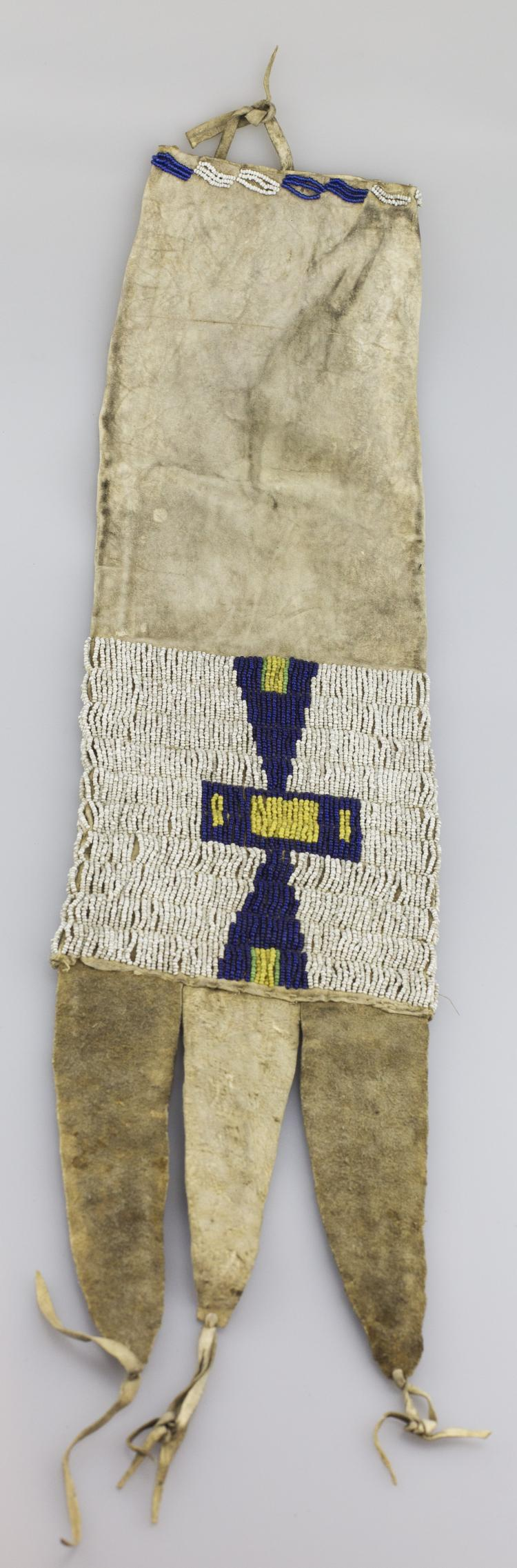 RARE SIOUX THREE LEGGED BEADED TOBACCO BAG -  APPROX. OVERALL LENGHT 23 INCHES - PRE  AUCTION ESTIMATE $3,000 - $4,000