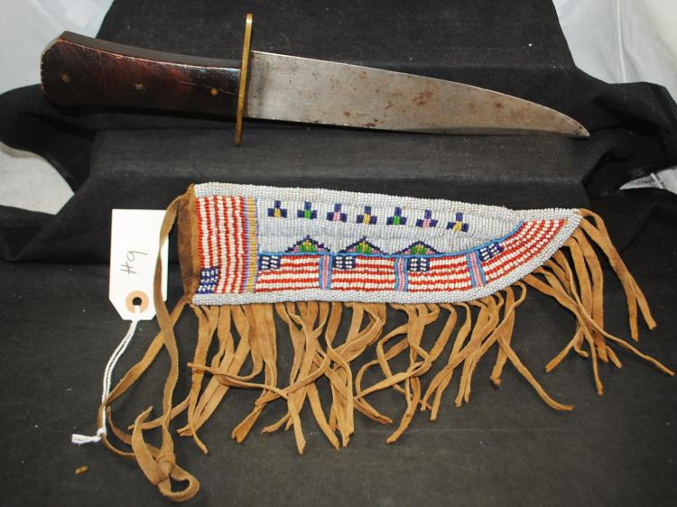 RARE BOWIE KNIFE WITH COFFIN HANDLE AND  ORIGINAL BEADED SCABBARD - 9 INCH POINTED  BLADE - APPROX. OVERALL LENGTH OF BOWIE KNIFE  14 INCHES - PRE AUCTION ESTIMATE $1800 -  $2,500
