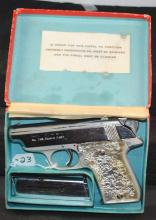 ECUASA MAB EIBAR .32 CAL. NICKEL PLATED AUTO  PISTOL - SERIAL NUMBER 55266 - COMES WITH  CLIPS - ORIGINAL CLEANING ROD AND ORIGINAL  BOX