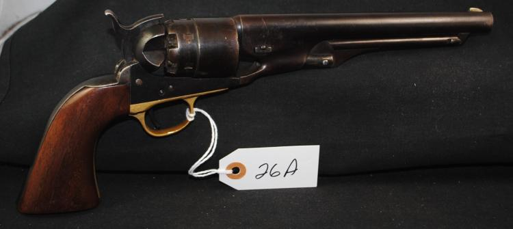 RARE 1860 COLT ARMY REVOLVER - .44 CAL REVOLVER - MFG 1864 - SOME MILITARY PROOF MARKS, NUMBERS MATCH GOOD GRIPS