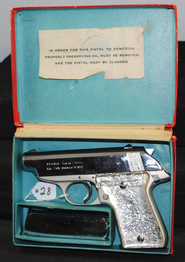 ECUASA MAB EIBAR .32 CAL. NICKEL PLATED AUTO PISTOL - SERIAL NUMBER 49749 - COMES WITH TWO CLIPS AND ORIGINAL BOX