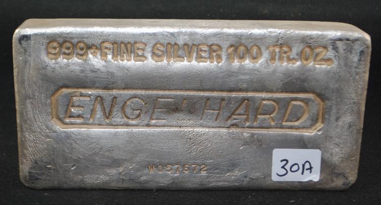 VINTAGE ENGELHARD 100 TROY OZ .999+ FINE SILVER INGOT