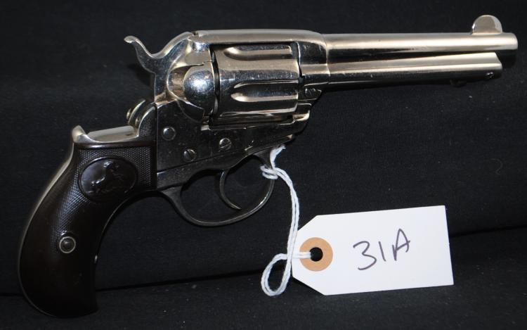 RARE 1877 COLT LIGHTNING NICKEL PLATED  REVOLVER - .38 CAL - VERY GOOD REFINISHED  NICKEL PLATING WITH APPROX. 95% REMAINING -  GRIPS WORN BUT GOOD CONDITION - VERY GOOD  OVERALL CONDITION - MFG 1901 - SERIAL # 124005