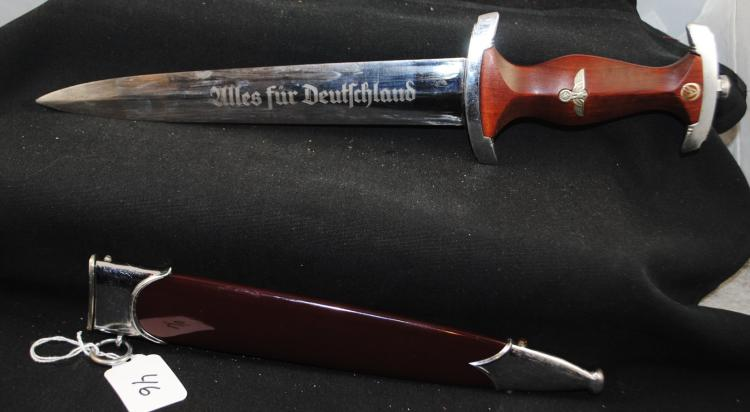 RARE GERMAN DAGGER AND SCABBARD - WALNUT HANDLE WITH EAGLE AND SWATZIKA WITH MAKERS MARK ED. WUSTHOF SOLINGEN