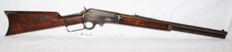 MARLIN MODEL 1893 LEVER ACTION 32-40 RIFLE -  OCTAGONAL BARREL - 20 INCH BARREL - CARVED  DEER SCENE IN WALNUT STOCK - MFG 1897 -  APPEARANCE AND FUNCTION IS GOOD - SERIAI #  145261