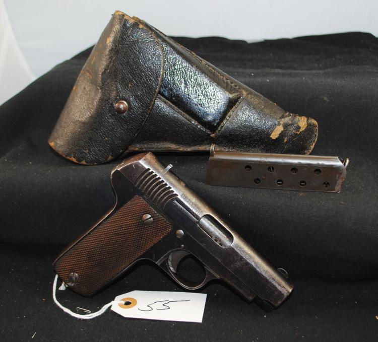 ECHAVEY ARIZMENDI-EIBAR MODEL 1916 7.05 CAL AUTO PISTOL WITH HOLSTER AND CLIP