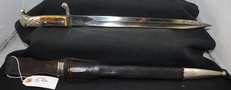 RARE GERMAN DRESS BAYONET WITH EAGLE HANDLE  AND SCABBARD - MAKER MARKED WEYERSBERG  KIRSCHBAUM & CO SOLINGEN - KNIGHTS HEAD  STAMPED ON OTHER SIDE OF BLADE