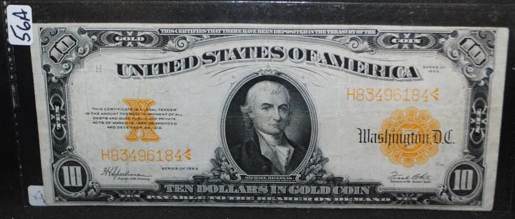 $10 GOLD CERTIFICATE - LARGE SIZE - SERIES 1922