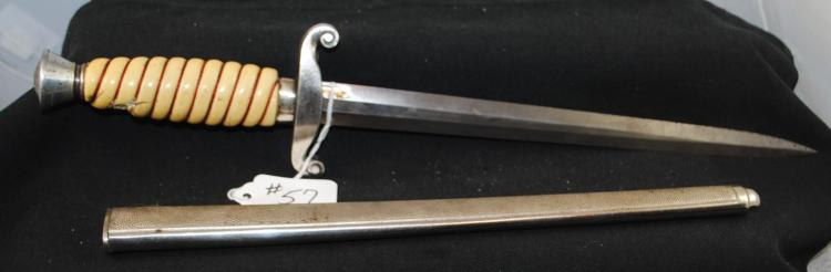 GERMAN DRESS DAGGER AND SCABBARD - EICKHORN  SOLINGEN (NOTE-SOME DAMAGE ON HANDLE)