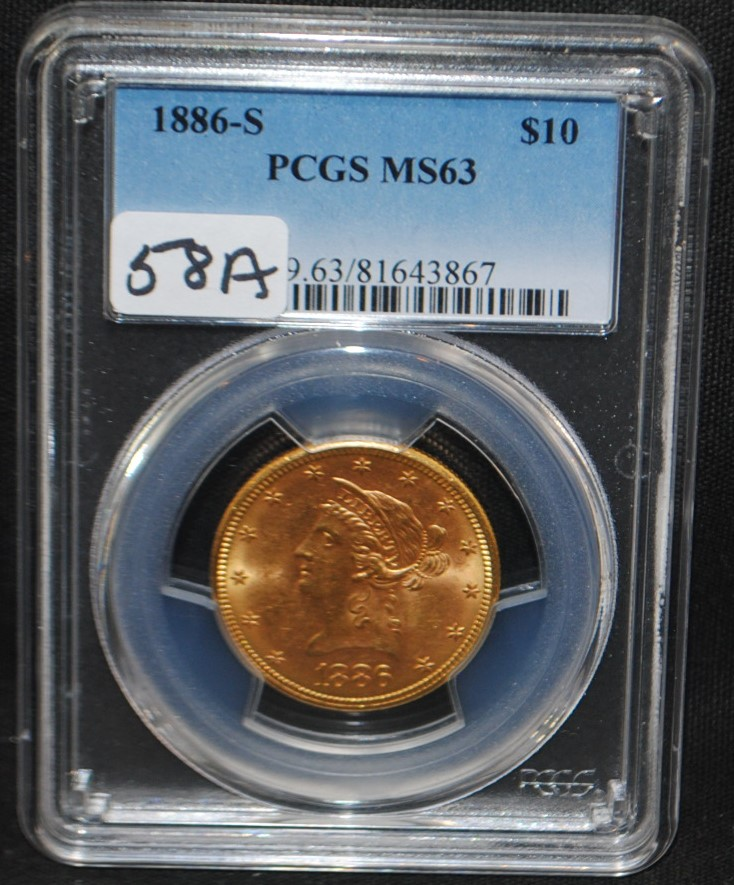 SCARCE DATE 1886-S $10 LIBERTY GOLD COIN -  PCGS MS63 - THE CURRENT COIN WORLD TRENDS  LISTS A MS63 @ $2,000.00! SCARCE COIN!!